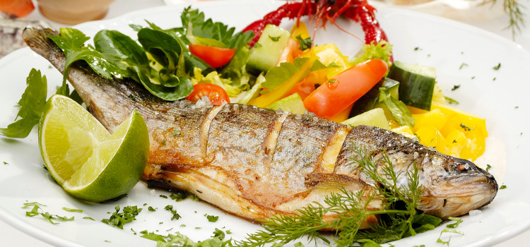 Grilled trout w limet and vegetable